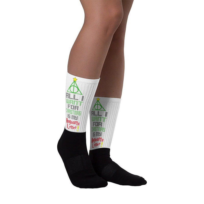 «All I Want For Christmas Is My Hogwarts Letter!» black foot socks