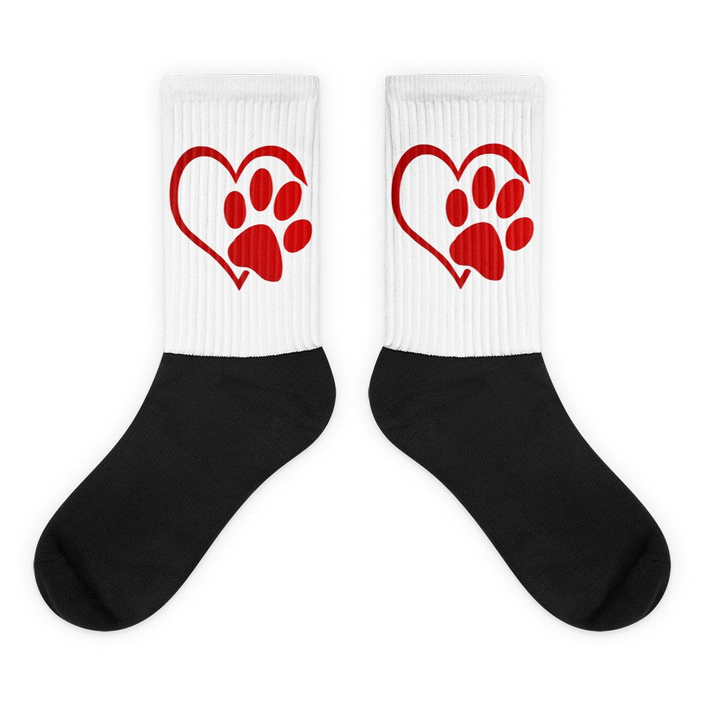 «Paw Heart» black foot socks