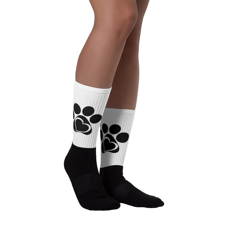 «Paw and Heart» black foot socks