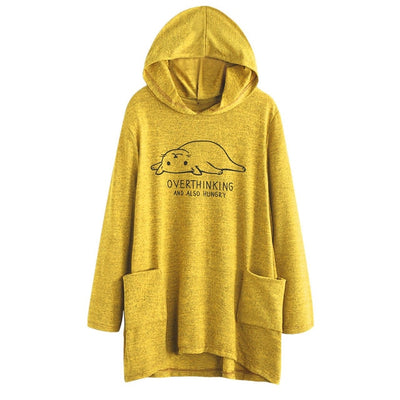 «Overthinking, And Also Hungry» Oversized Hoodie