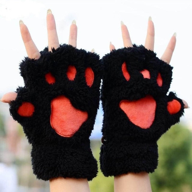 Cat Paw Plush Mittens