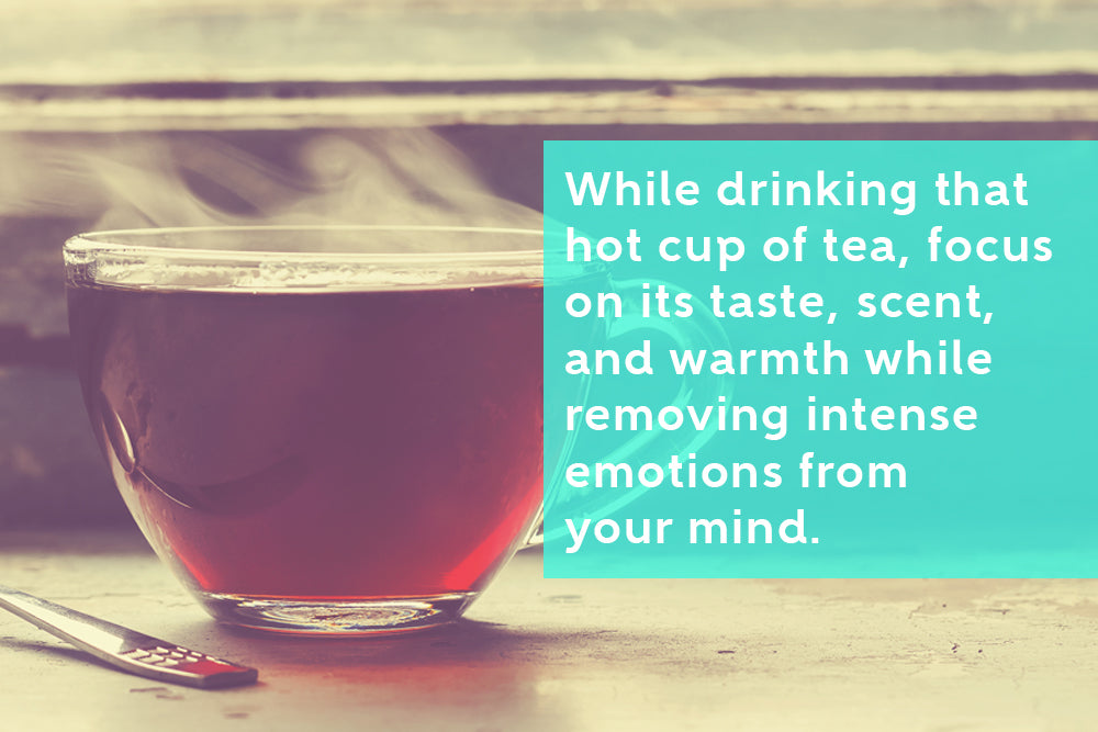 Mindfulness meditation while sipping a cup of tea