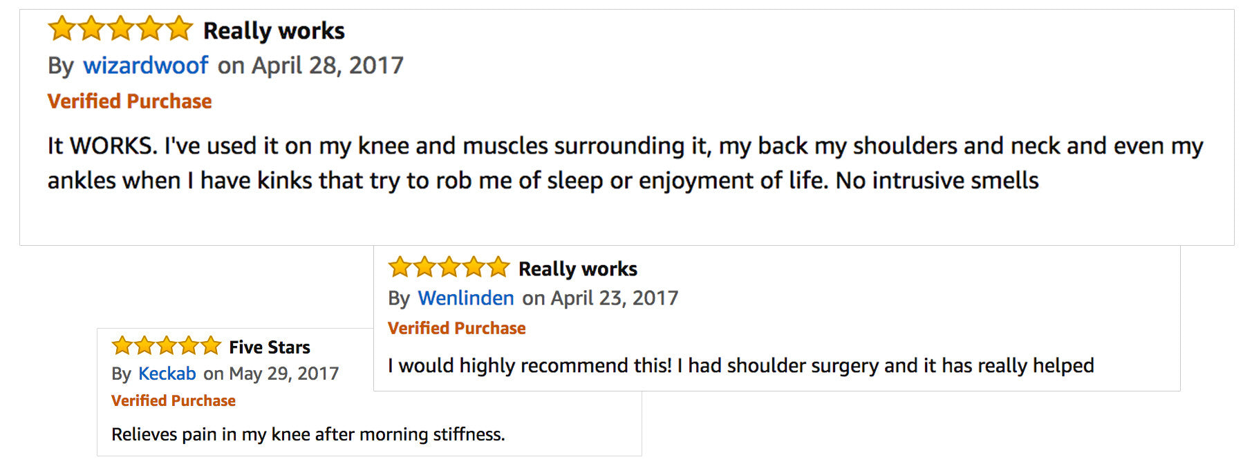 Amazon Reviews of Pain Relief Cream