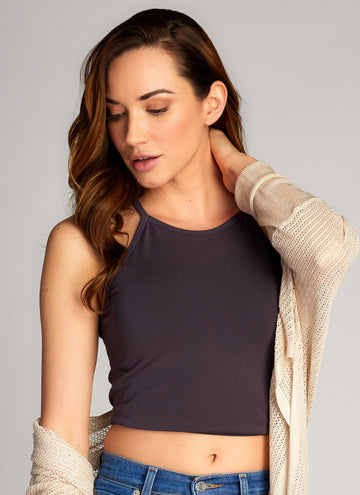 Bamboo High-Neck Crop Top