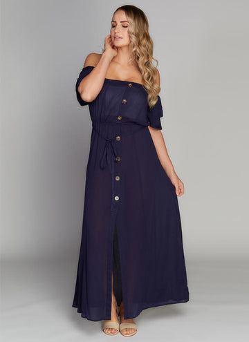 Cap Sleeve Button Front Maxi Dress