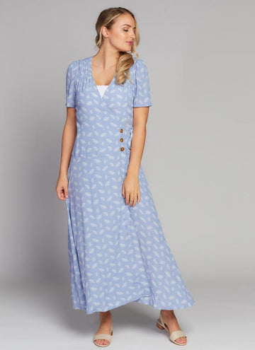 Wrap Button Front Maxi Dress