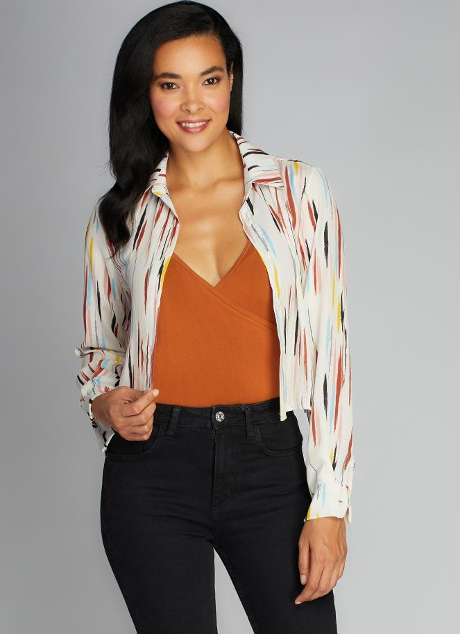 Cropped Printed Blouse