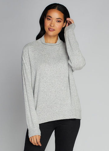 Rayon Soft Knit Mock Neck Top