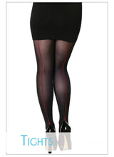 Red Back Stripe Opaque Tights