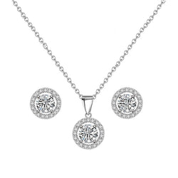 Halo Silver Necklace Set