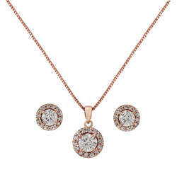 Halo Rose Gold Necklace Set
