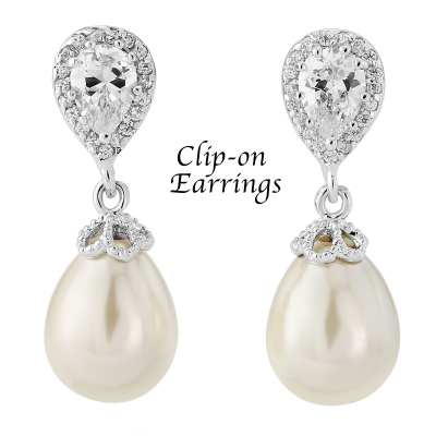 Shimmer Pearl Earrings - Clip on