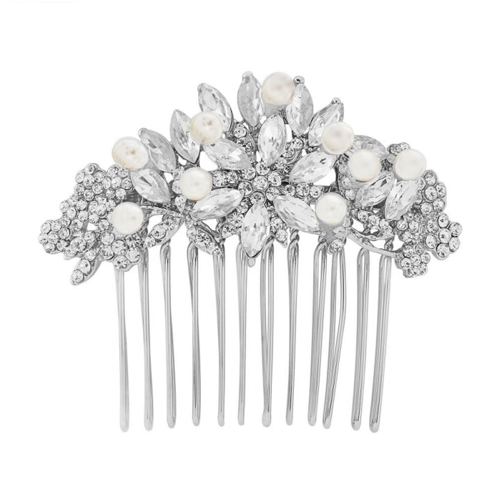 Vintage Pearl Hair Comb - Silver