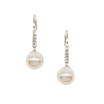 Silver Dainty Pearl Earrings