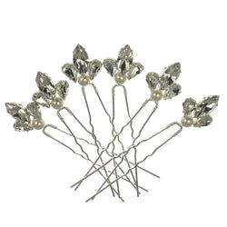 Diamante Pearl Hair Pins (set of 6)