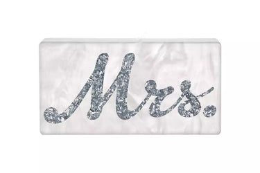'Mrs' Acrylic Clutch - Silver