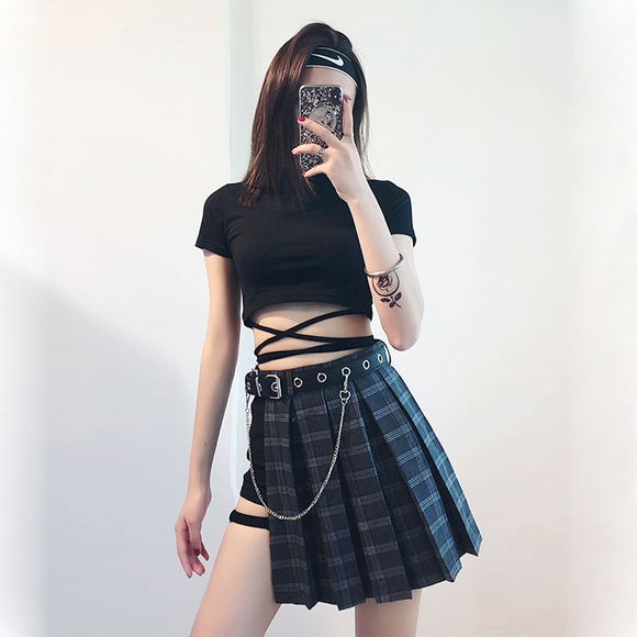 Side Slit Plaid Skirt Set
