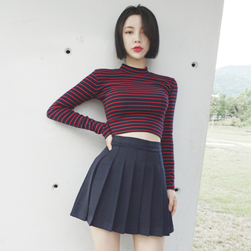 Striped Fitted Mockneck Top