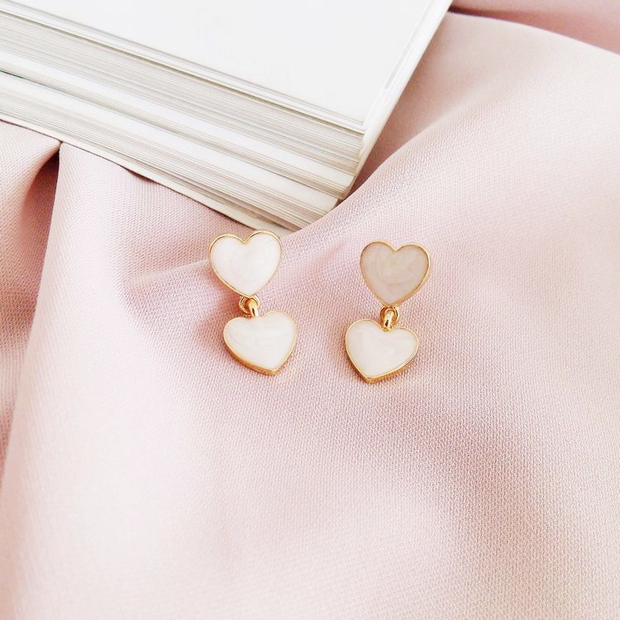 Double Heart Marble Earrings