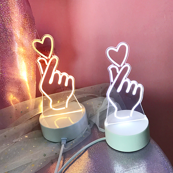 Korean Heart Finger LED Light (3 Color Modes)