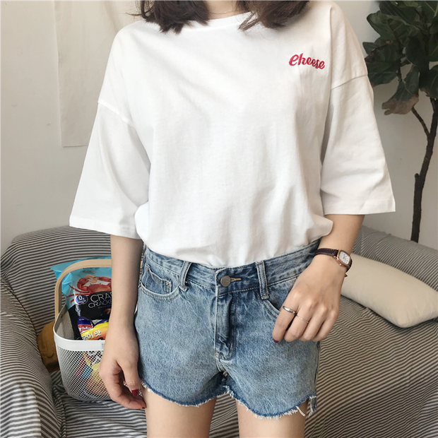 Cheese Embroidered Tee (3 Colors)