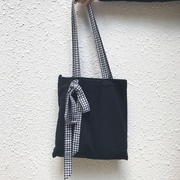 Plaid Ribbon Canvas Tote