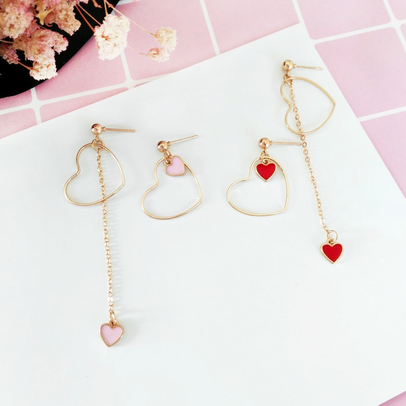 Empty Heart Dangle Earrings