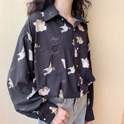 Angel Print Button Up Shirt