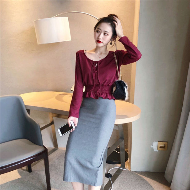 Ribbon Cropped Blouse (3 Colors)