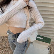 Fuzzy Cropped Long Sleeve Top