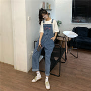 Butterfly Embroidered Denim Overalls