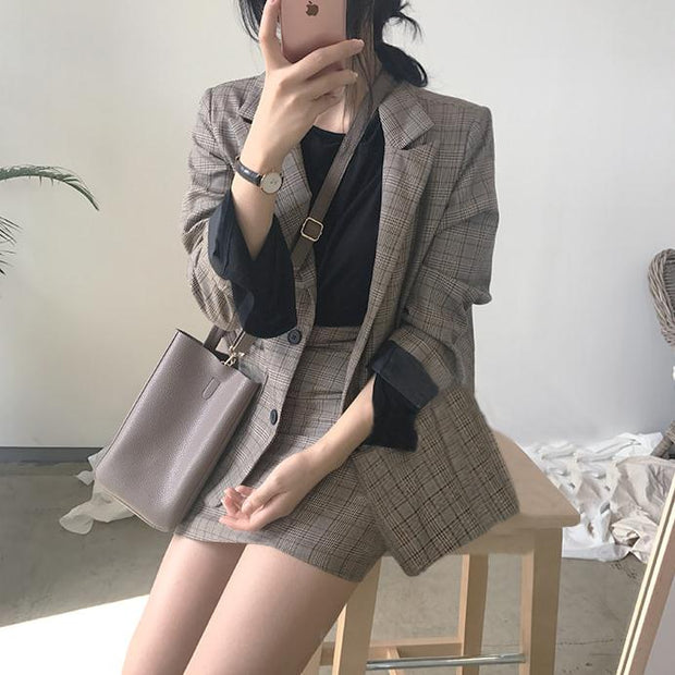 Elegant Plaid Blazer & Skirt Outfit Set