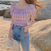 Pastel Plaid Puffy Sleeve Top