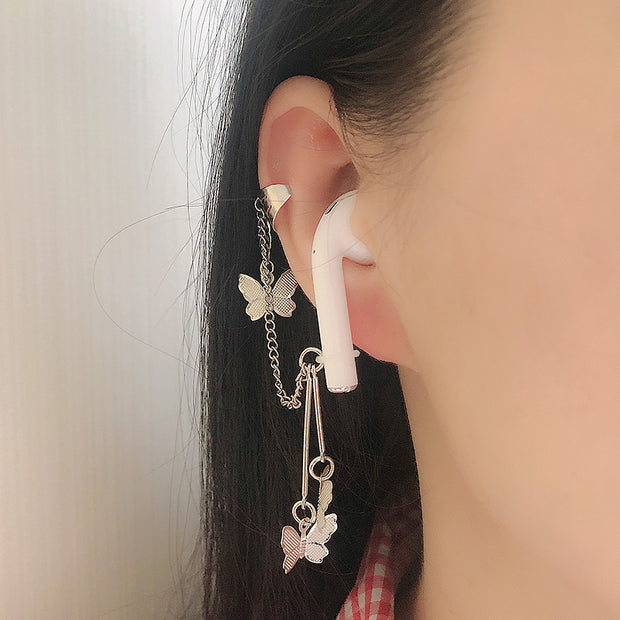 Silver Butterfly Airpod Earring Chain