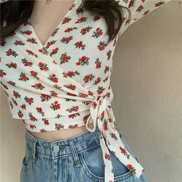 Floral Side Tied Shirt