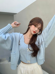 Silver Ribbon Cardigan & Top Set