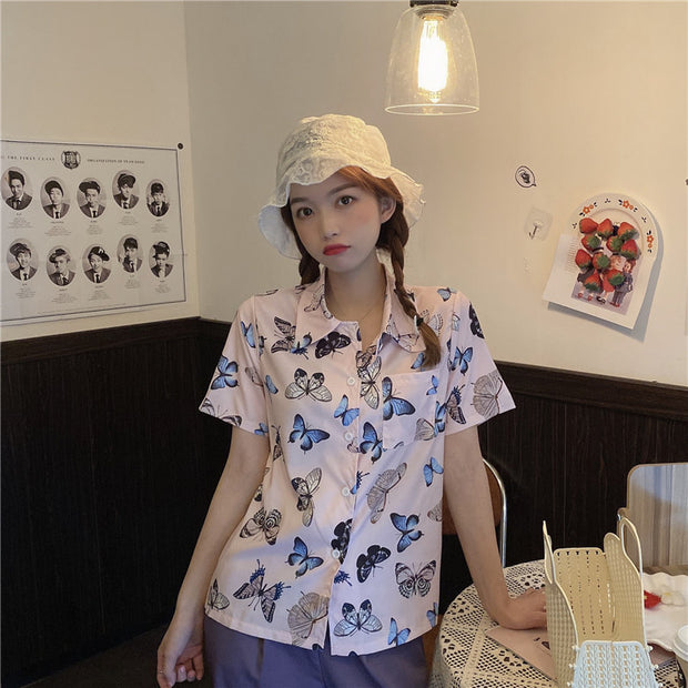 Butterfly Print Polo Shirt
