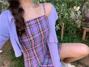 Pure Purple Plaid Dress