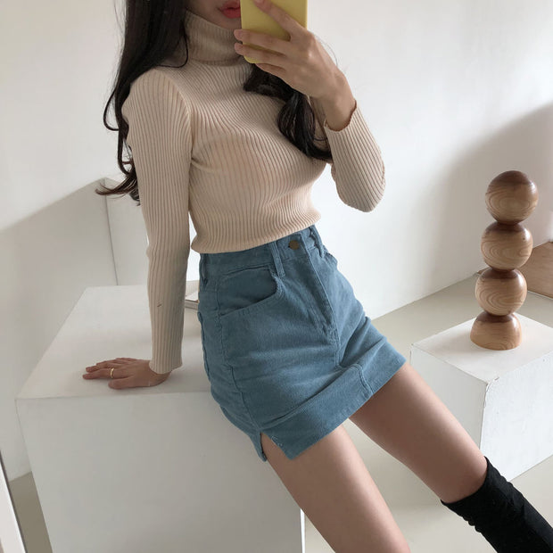 Side Slit Denim Miniskirt