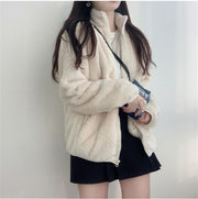Soft Fluffy Fleece Polo Jacket