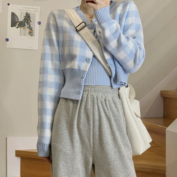 Soft Blue Plaid Top & Pants Set