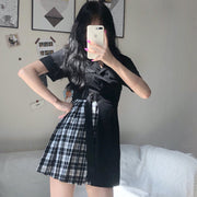 Belted Half Plaid Polo Dress