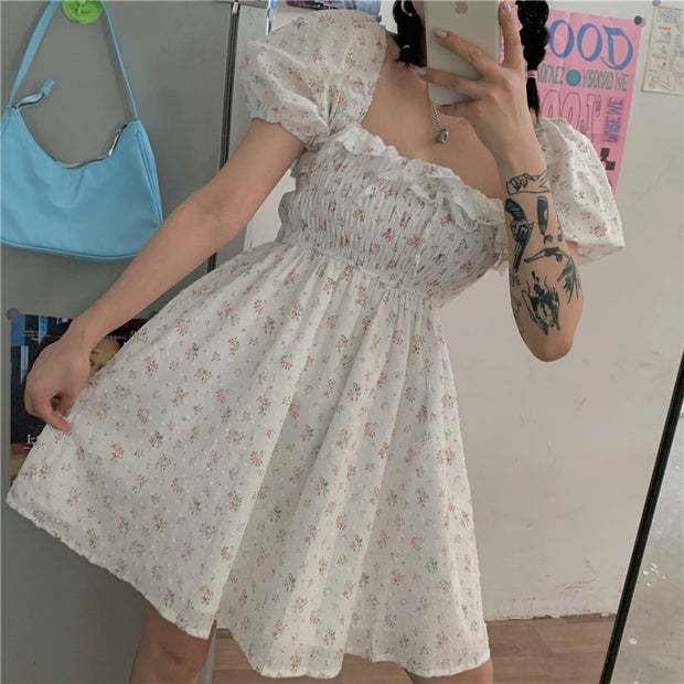 Ruffled Square Collar Floral Dress