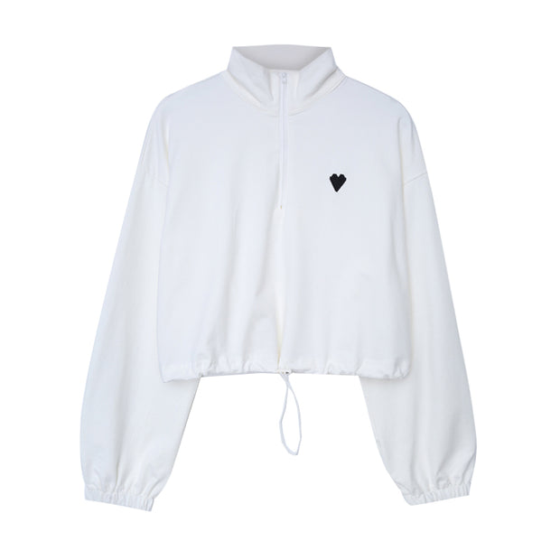 Heart Embroidered Cropped Zip Up
