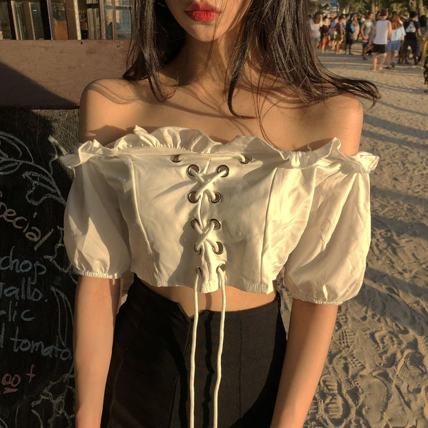 Lace Up Off Shoulder Crop Top