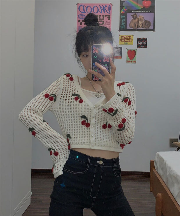 Cherry Bomb Crochet Cardigan
