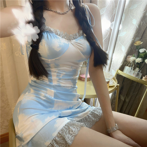 Blue Sky Laced Mini Dress