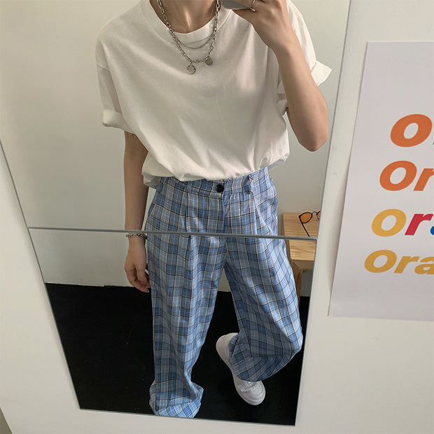 Soft Blue Checkered Pants