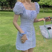 Soft Blue Puffy Sleeve Dress