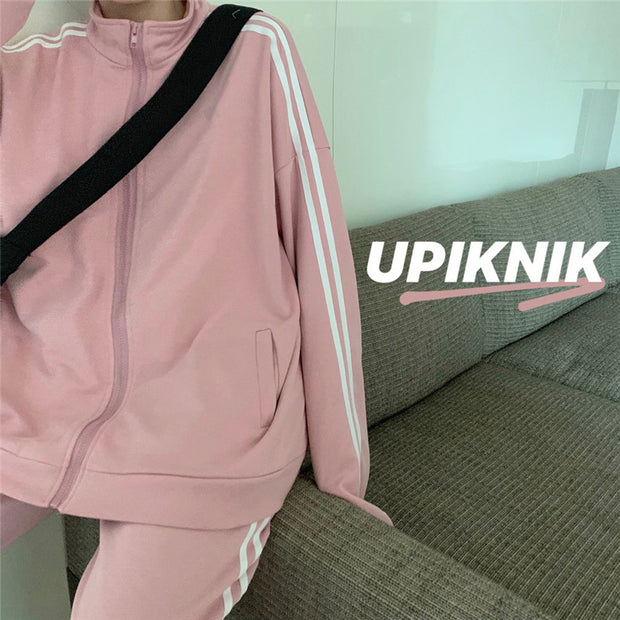 Soft Pink Double Stripe Sports Set